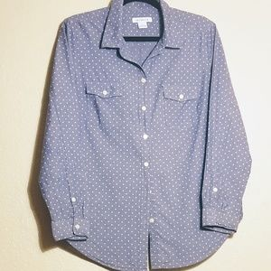 Liz Claiborne polka dot button down